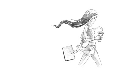 go out: Hand-drawn Sketch, Pencil Illustration, Drawing of Young Woman With Her Coffee To Go | High Resolution Scan, Decent Copy Space