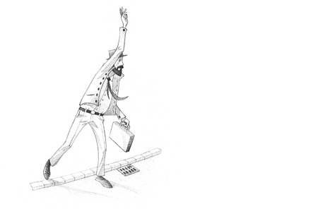 decent: Hand-drawn Sketch, Pencil Illustration, Drawing of Man calling for a cab in a rush| High Resolution Scan, Decent Copy Space Stock Photo