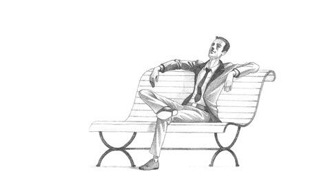 손으로 그린 스케치, 연필 그림 그리기 젊은 기업가의 벤치에 편안한 휴식을 취하 | 고해상도 스캔, 점잖은 복사 공간