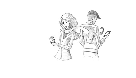 citylife: Hand-drawn Sketch, Pencil Illustration, Drawing of Young couple texting on phone | High Resolution Scan, Decent Copy Space