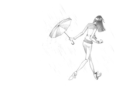 Hand-drawn Sketch, Pencil Illustration, Drawing of Young Woman hiding from Rain with Umbrella | High Resolution Scan