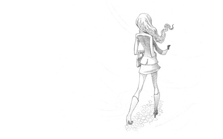 ramble: Hand-drawn Sketch, Pencil Illustration, Drawing of Young Woman in wind | High Resolution Scan, Decent Copy Space