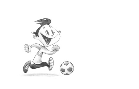 funny pictures: Hand-drawn Sketch, Pencil Illustration, Drawing of Little Boy PLaying Football | High Resolution Scan, Decent Copy Space Stock Photo