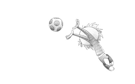 Hand-drawn Sketch, Pencil Illustration, Drawing of Child Soccer Player Goalkeeper Faulting Toward the Football | High Resolution Scan, Decent Copy Space 版權商用圖片