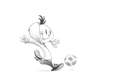 Hand-drawn Sketch, Pencil Illustration, Drawing of Child Soccer Player PLaying Football | High Resolution Scan, Decent Copy Space illustration