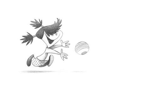 Hand-drawn Sketch, Pencil Illustration, Drawing of Little Girl PLaying Handball | High Resolution Scan, Decent Copy Space 版權商用圖片