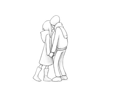 decent: Pencil Illustration, Drawing of Young Couple in Love | High Resolution Scan, Decent Copy Space