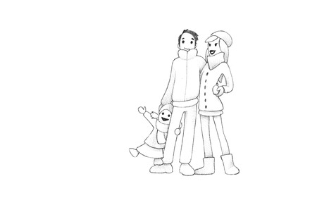 Pencil Drawing of Happy Family Having fun Winter Outdoors | High Resolution Scan, Decent Copy Space