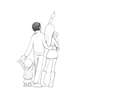 decent: Pencil Drawing of Happy Family Celebrating New Years eve Together | High Resolution Scan, Decent Copy Space