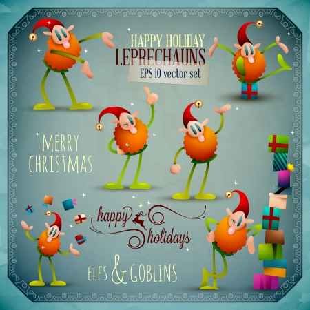 Christmas Leprechauns Vector