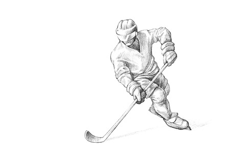 Hand-drawn Sketch, Pencil Illustration of an Ice Hockey Player | High Resolution Scan, Decent Copy Space