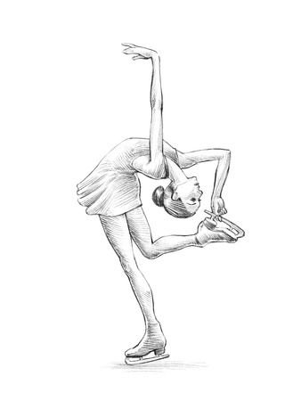 Hand getekende schets, potlood Illustratie van een Schaatser Woman | hoge resolutie scan