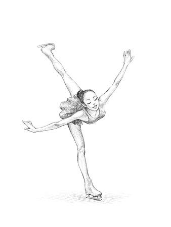 手描きのスケッチ鉛筆、フィギュア スケート選手女性のイラスト |高解像度のスキャン 写真素材