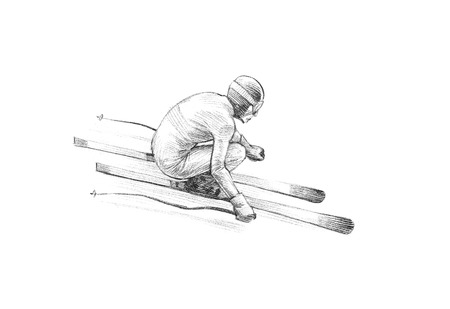 Hand-drawn Sketch, Pencil Illustration of an Alpine Skier Speeding Downhill | High Resolution Scan, Decent Copy Space