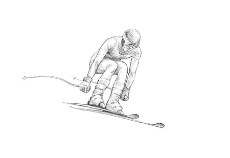 decent: Hand-drawn Sketch, Pencil Illustration of an Alpine Skier Jumping Downhill | High Resolution Scan, Decent Copy Space