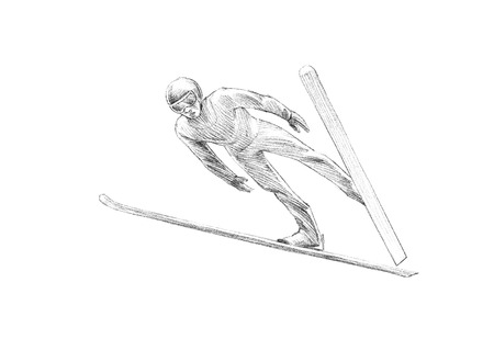 decent: Hand-drawn Sketch, Pencil Illustration of Ski Jumper Mid Air | High Resolution Scan, Decent Copy Space Stock Photo