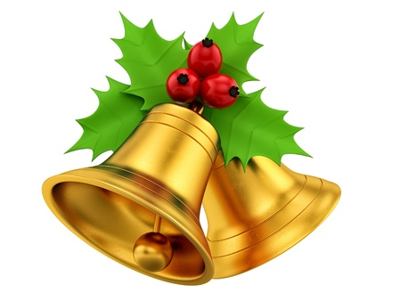 render of golden bells with holly berries, isolated on white