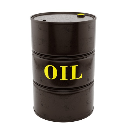 barril de petr�leo: rinde de un barril de petr�leo, aislado en blanco Foto de archivo