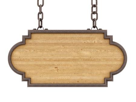 rinde de un cartel de madera, aislado en blanco Foto de archivo
