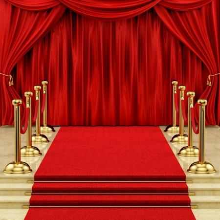 il rendering di un tappeto rosso con candelieri d'oro e tende