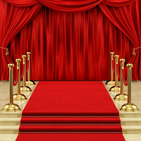 velvet rope barrier:  render of a red carpet with gold stanchions and curtains  Stock Photo
