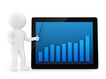 economia aziendale: rendering di un uomo e di un grafico finanziario su un tablet PC, isolato su bianco