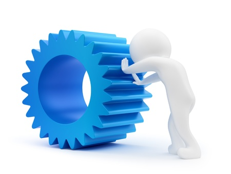 render of a man pushing a gear, isolated on white Stock Photo - 16221558