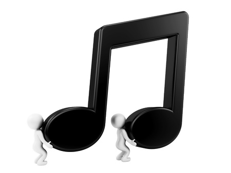 business symbols metaphors: render of 2 man carrying music note  Stock Photo