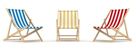 render of 3 deck chair in different color and position Stock Photo