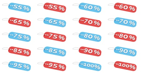75 80: Discount price tags from 55  to 100  in 2 different colors  Stock Photo