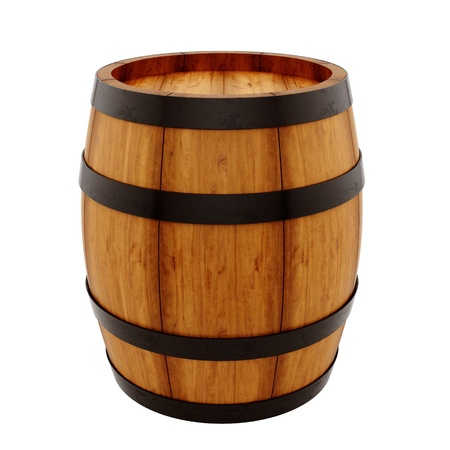 oak barrel: render of a barrel, isolated on white  Stock Photo
