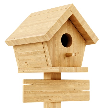 render of a birdhouse with a wooden sign, isolated on white photo