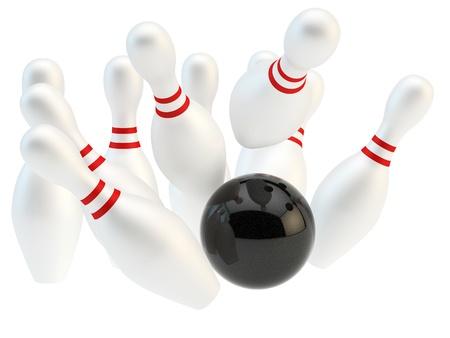 bowling strike: render of black bowling ball and pins