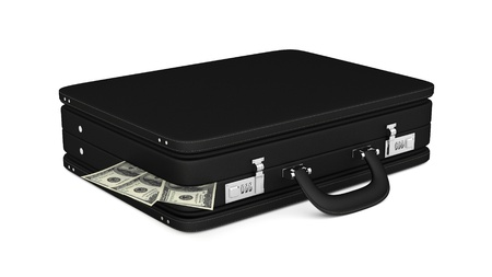 render of a black leather briefcase filled with money
