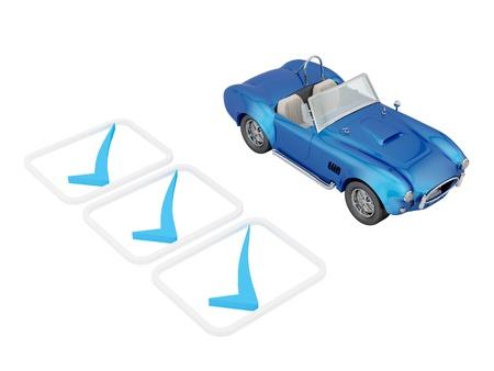 test drive: Car check mark  Stock Photo