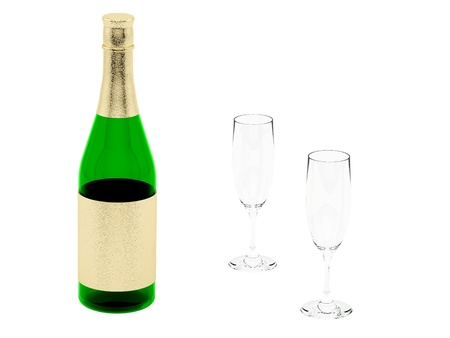 render of champagne bottle and glasses, isolated on white  photo