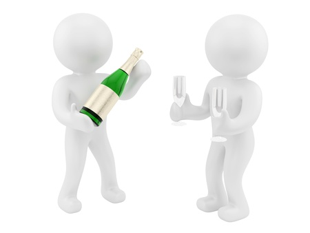 render of 2 man with champagne bottle and glass