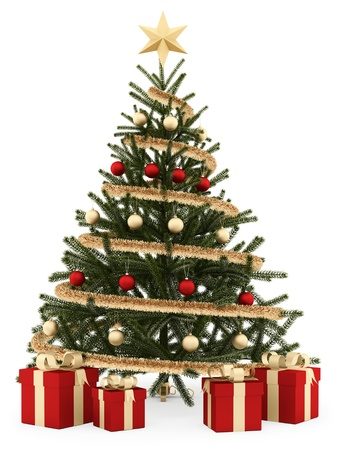 render of a Christmas tree with gift boxes, isolated on white  photo
