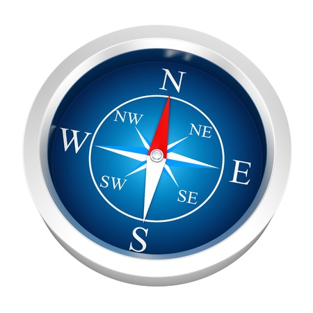 render of a compass, isolated on white