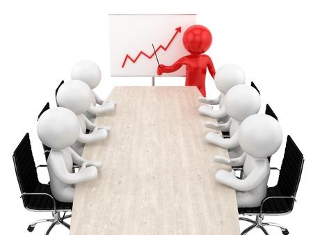 hacer de los seres humanos en una mesa y un gr�fico financiero ascendente