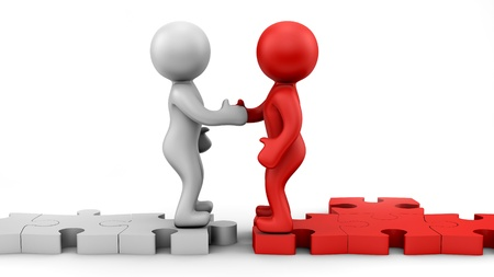 business communication: render of 2 man making contract