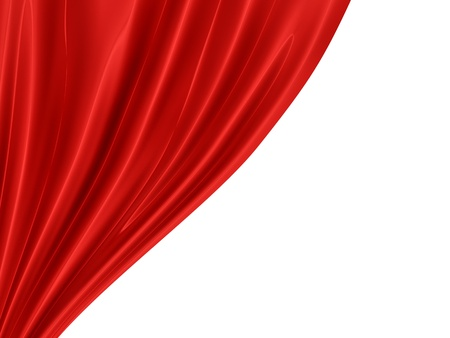 render of a red curtain, isolated on white  photo