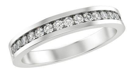 silver ring: render of a ring with diamonds, isolated on white  Stock Photo