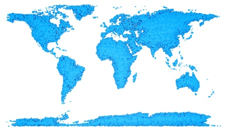 render of world map from cubes, isolated on white Stock Photo - 16974026