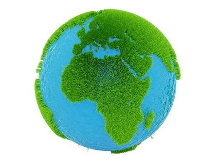 render of the globe from grass, isolated on white  photo