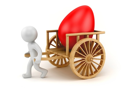 chariot: render of a man pulling chariot with big easter egg