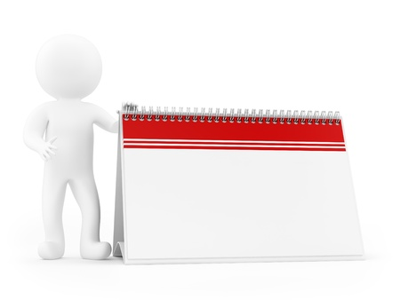 render of a man and an empty calendar, isolated on white