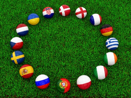 render of soccer balls on grass  Stock Photo - 16955224