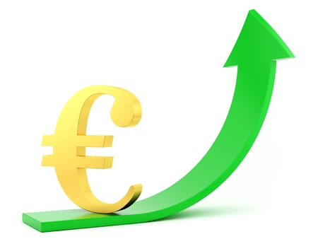 win money: render of Euro symbol and a green arrow  Stock Photo