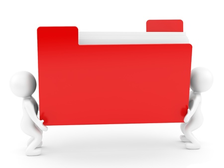 render of 2 man carrying a red folder Stock Photo - 16955209